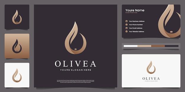 Роскошный дизайн логотипа оливкового дерева и капли воды и визитных карточек.