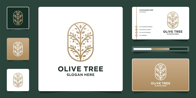Luxury olive tree logo design and business card template