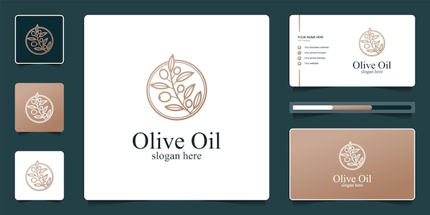 Luxury olive tree and oil logo design and business card