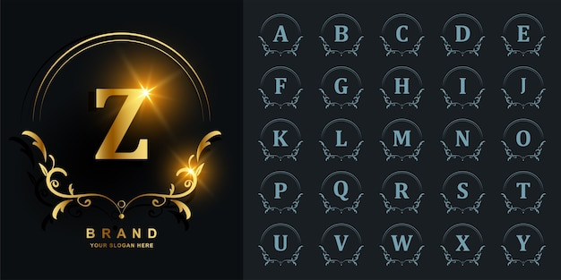 Luxury ornament or floral frame initial alphabet golden logo.