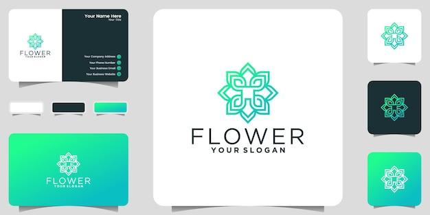 豪華な飾りの花のロゴのインスピレーションと名刺のインスピレーション