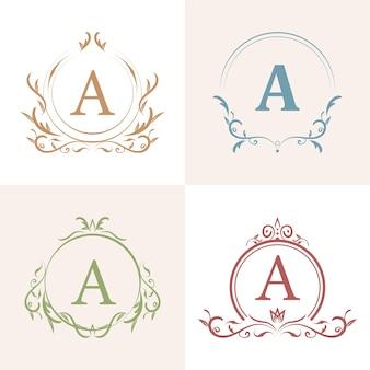 高級オーナメントフレームイニシャルロゴセットコレクション。ミニマリスト、クリエイティブ、シンプル、エレガント、モダンなロゴデザイン。