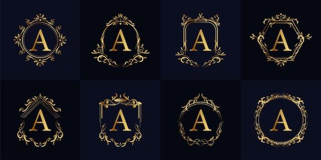 럭셔리 장식 프레임 이니셜 a 로고 세트 컬렉션.