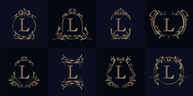 고급 장식 프레임 이니셜 l 로고 세트 컬렉션