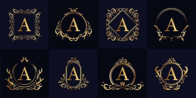 Luxury ornament frame initial a logo set collection. minimalist, creative, simple, elegant and modern logo template design.