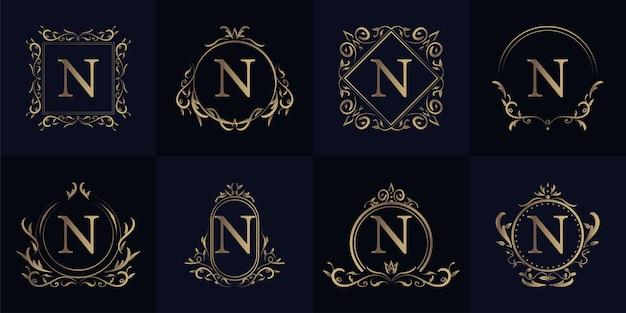 高級オーナメントフレームイニシャルnロゴセットコレクション。