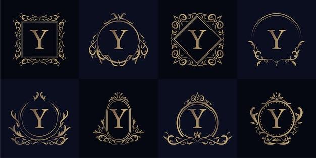 럭셔리 장식 프레임 이니셜 Y 로고 세트 컬렉션. 프리미엄 벡터