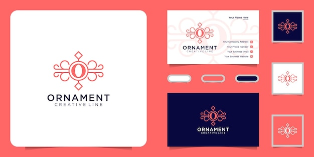 Luxury ornament logo with initial letter o and business card