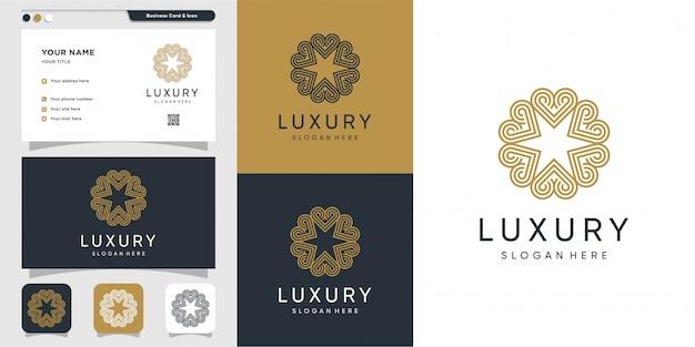 라인 아트 스타일과 명함 디자인, 럭셔리, 추상, 아름다움, 아이콘이있는 고급 장식 로고
