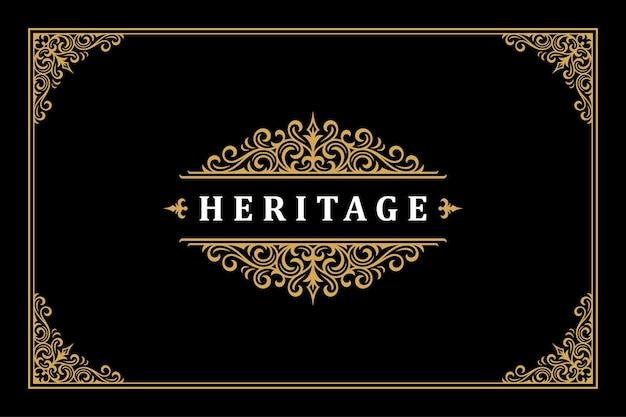 럭셔리 장식 빈티지 로고 템플릿 디자인 벡터 일러스트 레이 션. 부티크 또는 레스토랑 로고에 적합한 로얄 브랜드 붓글씨 화려한 비네트.