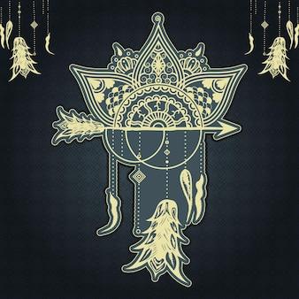 Роскошь орнаментальное искусство мандалы ловец снов дизайн рамадан стиль декоративная мандала