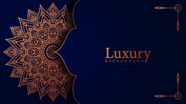 Luxury ornamental background mandala design in gold color vector