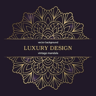 Design di lusso di nozze con mandala oro