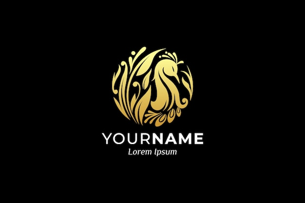 Luxury ornamental bird logo design