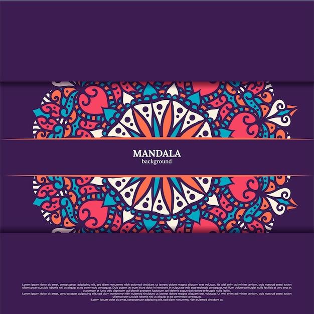 Priorità bassa di disegno mandala colorato ornamentale di lusso