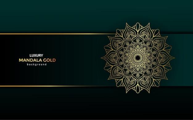 豪華な装飾的な黄金のマンダラ背景、アラベスクスタイル。