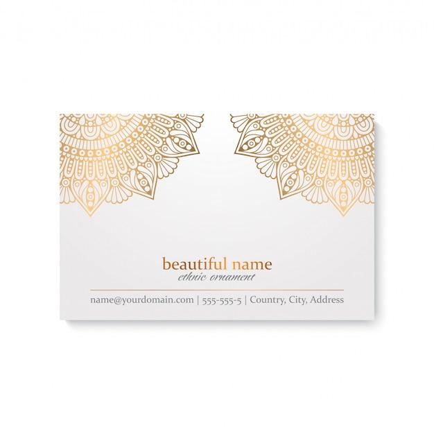 Luxury ornamental golden mandala business card