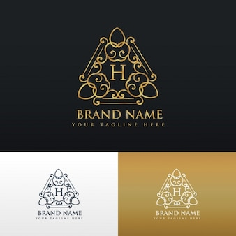 Luxury ornamental logo with letter h