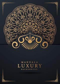 黄金のアラベスクと花のコーナーフレームアラビアイスラム東スタイルの豪華な装飾的なマンダラ背景デザイン