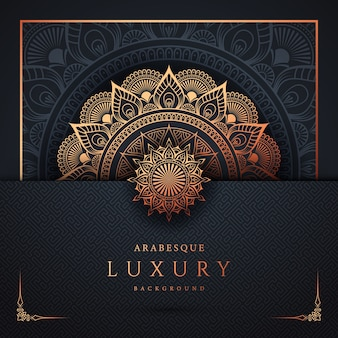 Luxury ornamental mandala background design with golden arabesque and floral corner frame arabic islamic east style