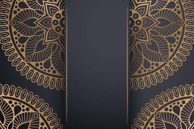 Роскошный декоративный фон мандалы в золотом цвете.