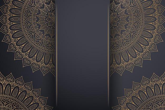 ゴールドカラーの豪華な装飾用曼荼羅の背景。