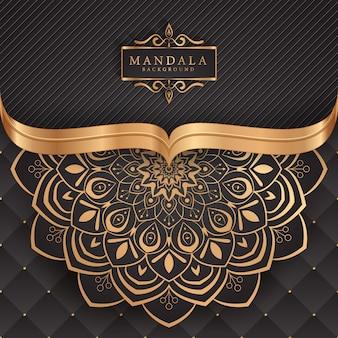 ゴールドカラーの豪華な装飾的なマンダラ背景