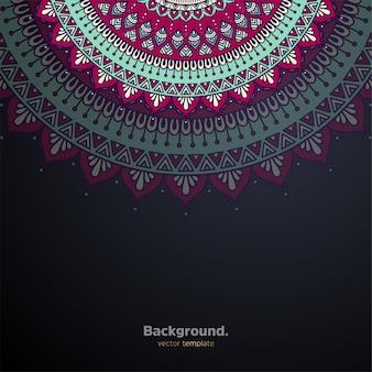 カラフルな豪華な装飾用曼荼羅デザインの背景