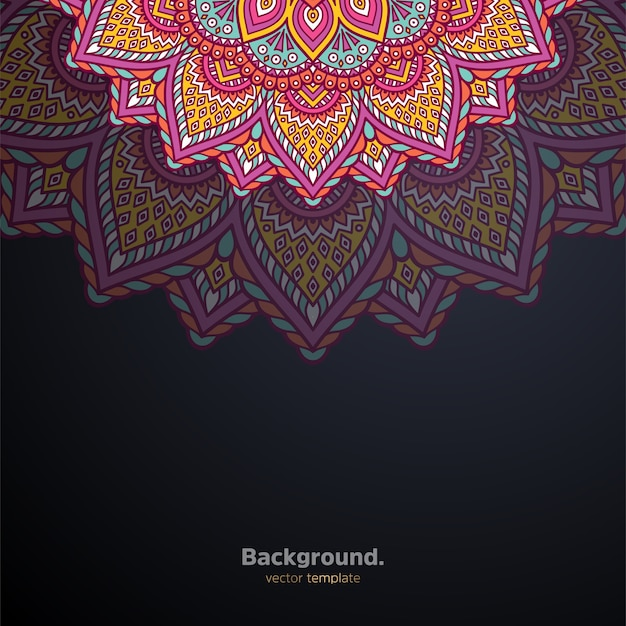 Priorità bassa di disegno della mandala ornamentale di lusso colorato