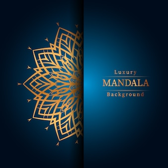 Luxury ornamental mandala design background in gold color, luxury mandala background for wedding invitation, book cover