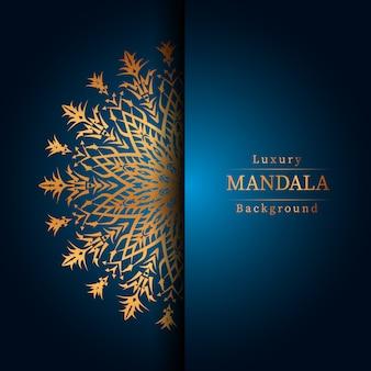Luxury ornamental mandala design background in gold color, luxury mandala background for wedding invitation, book cover