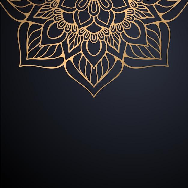 Luxury ornamental mandala design background in gold color vector Free Vector