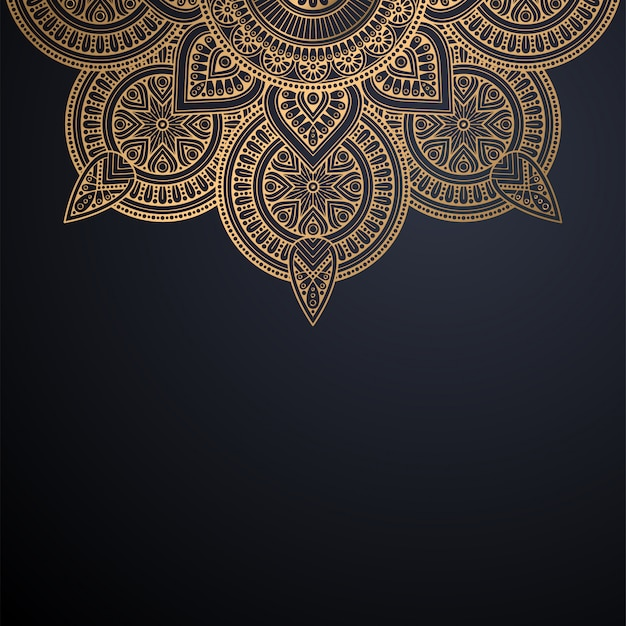 Luxury ornamental mandala design background in gold color vector