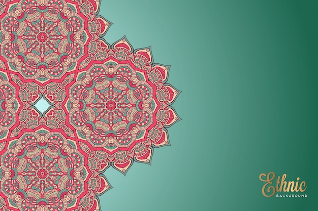 Fondo ornamentale di lusso di progettazione della mandala nel vettore di colore dell'oro