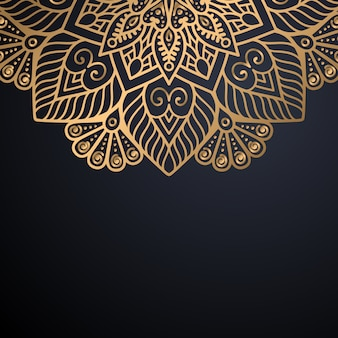 Роскошный декоративный фон дизайна мандалы в векторе золотого цвета