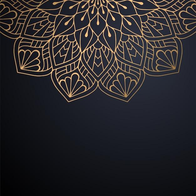 ゴールドカラーベクトルで豪華な装飾的なマンダラデザインの背景