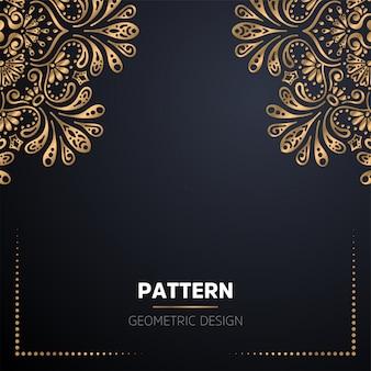 ゴールドカラーの豪華な装飾的なマンダラデザインの背景