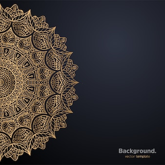 Роскошный декоративный фон дизайна мандалы в золотом цвете