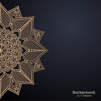 Роскошный декоративный фон дизайна мандалы в золотом цвете Бесплатные векторы