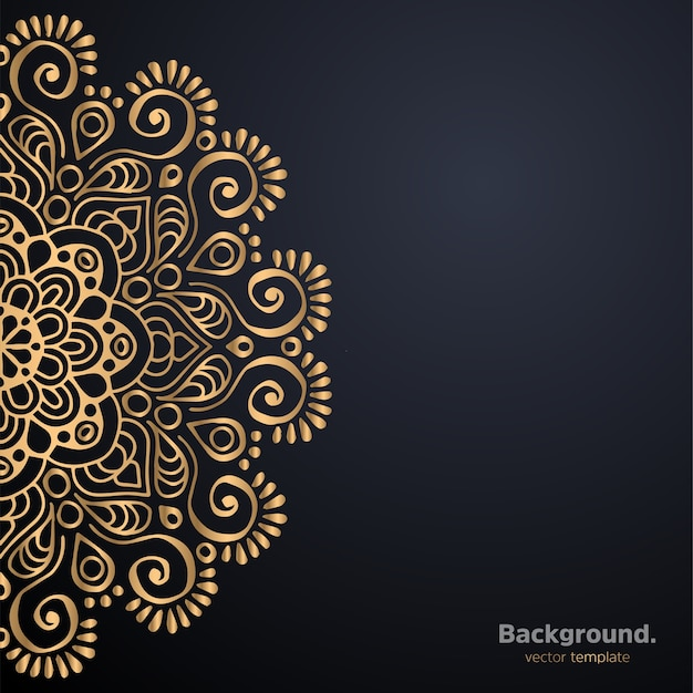 ゴールドカラーの豪華な装飾用曼荼羅デザインの背景