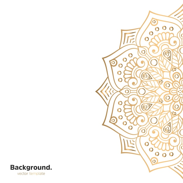 Роскошный декоративный фон мандалы в золотом цвете
