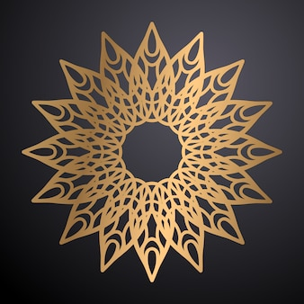 Luxury ornamental mandala design background in gold color