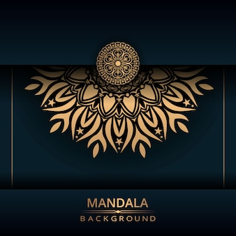 Luxury ornamental mandala design background with golden color