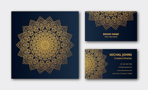 豪華な装飾用曼荼羅デザインビジネスカードの背景