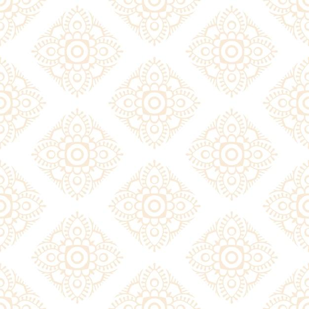 Роскошный декоративный дизайн мандалы бесшовные модели в золотом цвете