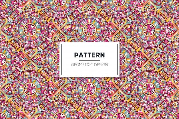 豪華な装飾的なマンダラデザインのシームレスパターン