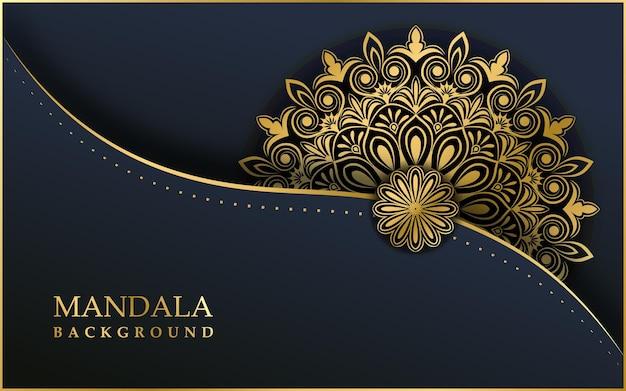 ゴールド色の豪華な装飾的なマンダラ効果デザインの背景