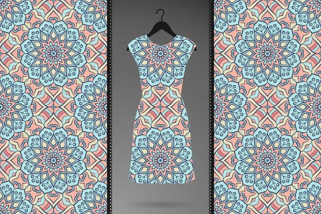 衣料品、テキスタイルプリントの豪華な装飾的なマンダラシームレスパターン