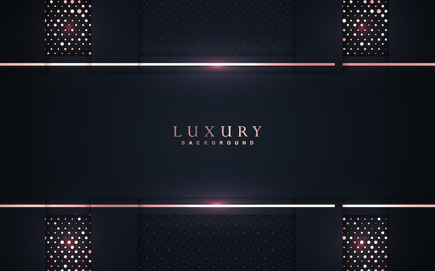 Luxury overlap navy blue background with rose gold element decoration