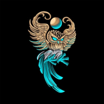 Luxury owl animal illustration with modern style